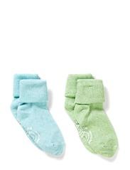 2-pack Baby Melange Socks - Melange turquoise