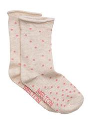 Sock - Random Dots w/roll edge - 409/NATUREMELANGE