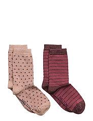 2-pk Sock - Dot/Stripe with Lurex - 507/ALTROSA