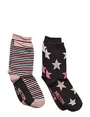 2-pk Sock - Star/Stripe Lurex - 190/BLACK