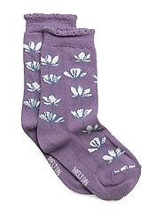 Sock - Outline Flowers with Edge - 718 DARK SYREN