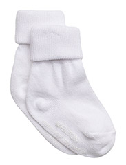 Baby sock, turn-up - White