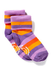 Turn-up sock w/stripes