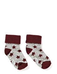 Turn-up sock w/stars - Bordeaux