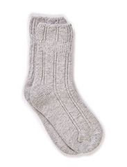 Bedsock Wool+angora Bubbleedge - Light grey melange