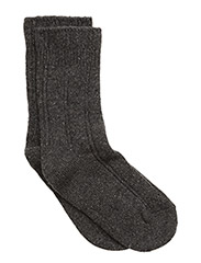 Wool Cozy Bed sock w/Silk - DARK GREY MELANGE
