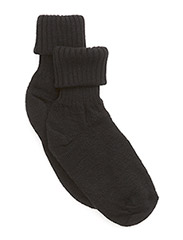 Wool sock w/string edge - Black