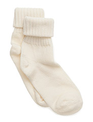 Wool sock w/string edge - White