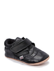 Basic leather shoe w/velcro - Black