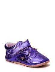 Basic leather shoe w/velcro - Metallic purple