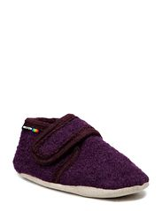 Wool soft shoe w/velcro - Dark purple