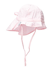 Hat w/neck & bow, Solid col - 504/BABY PINK