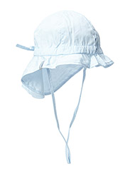 Hat w/neck & bow, Solid col - 208/DUSTY BABY BLUE