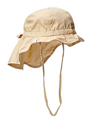 Hat w/neck & bow, Solid col - 415/SAND