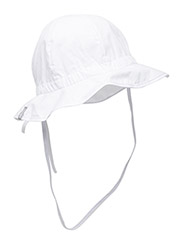 Hat w/brim & bow - Solid col - 100/WHITE
