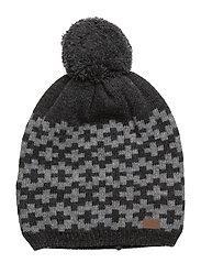 Lamb Wool Hat with Pom pom - 180/DARKGREYMELANGE