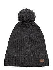 Lamb Wool Rib Hat with Pom - 180/DARKGREYMELANGE