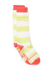 Knee-high, Triangle & Stripe - Soft melon