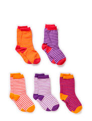 5-pack Socks, Thin stripes - Coral