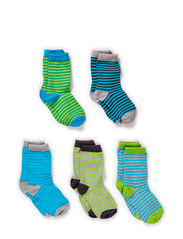 5-pack Socks, Thin stripes - Hawaiin Ocean