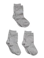Numbers 3-pack Socks - Single col - 135 / LIGHT GREY MELANGE