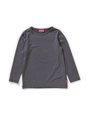GISELLE MINI LONG SLEEVE TOP - GREY WITH SILVER
