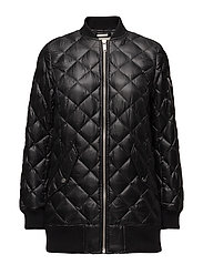 LONG QUILTED BOMBER - BLACK/SILVER