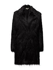BELTED FAUX FUR COAT - BLACK