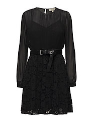 PLEATED LACE MIX DRS - BLACK