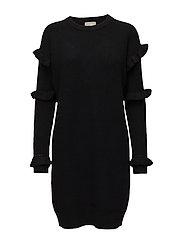 RIB RUFFLE DRESS - BLACK