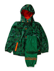 Rain suit, PU - all over print - Leave green