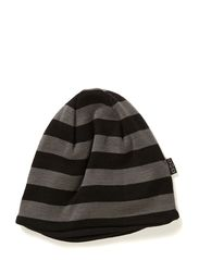 Hat striped wool w cotton - 150-190 Medium Grey/Black