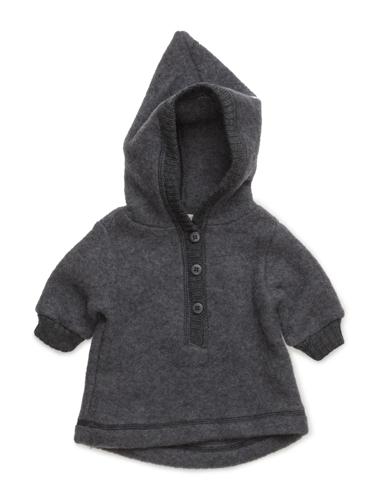 Baby Wool Jacket With Hat Mikk-Line  til Børn i Melange Grey