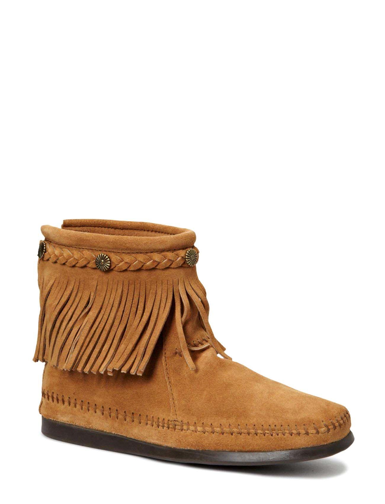 Hi Top Back Zip Boot Minnetonka Støvler til Damer i Taupe