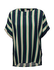 Ebba blouse - GREEN STRIPED