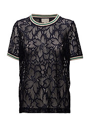Bjarka lace blouse - BLACK IRIS