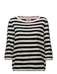 Leilani knit - BLACK IRIS/CLOUD DANCER STRIPE