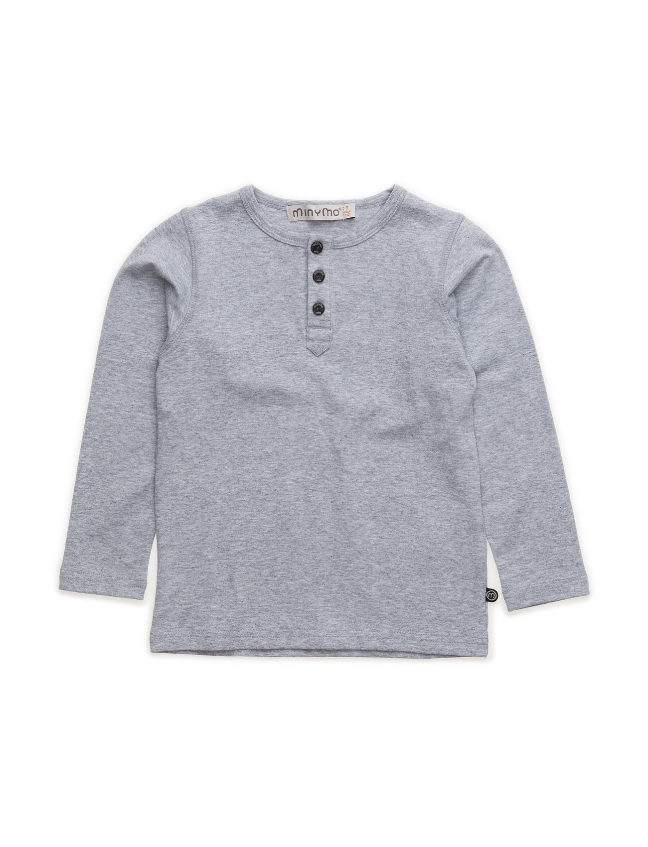 Basic Grandad T-Shirt Ls -Solid Minymo Langærmede t-shirts til Børn i Light Grey Melange