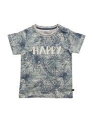 73-T-shirt SS w. palm aop - COASTAL FJORD