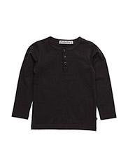 Basic Grandad T-shirt LS -solid - BLACK