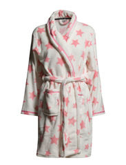 Eva robe short - Ivory with coral stars