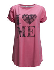 Elma big t-shirt - Rose with print