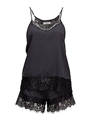 Pam top +  shorts - DARK GREY W. BLACK LACE