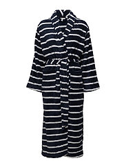 Tenna fleece robe long - MIDNIGHT STRIPE