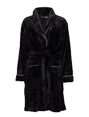 Tula short fleece robe - BLACK