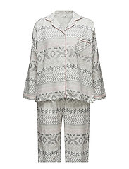 Parker py flannel incl mask - IVORY/GREY PRINT