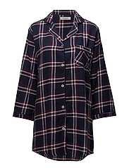 Parker long shirt flannel - WINE/MIDNIGHT BLUE