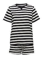 Verene pyjamas w. shorts - BLACK/IVORY STRIBES