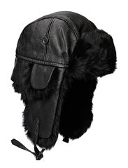 Fur hat TH1108 Leather/Rabbit - Black/Black