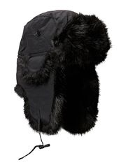 Fur hat TH1108 Taslan/Faux Fur - Black
